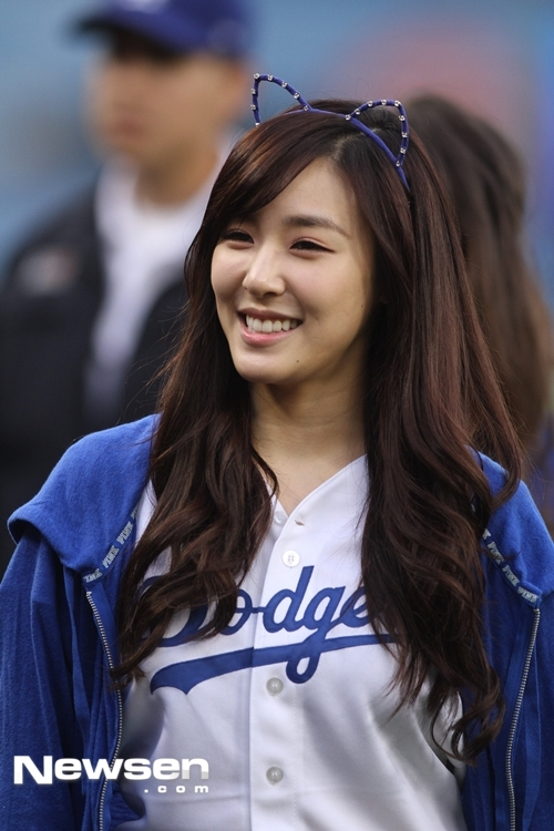 Tiffany Hwang at the Dodgers game.